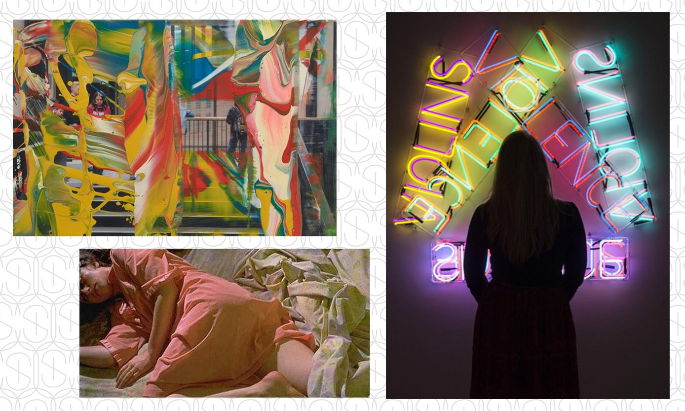 Art pieces by Gerhard Richter, Bruce Nauman and Cindy Sherman