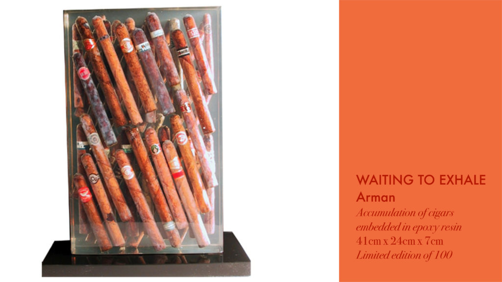 "Arman's sculpture ""Waiting to Exhale"" made by accumulating cigars and embedding them on epoxy resin"